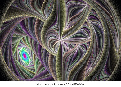Abstrct Digital Artwork. Beautiful spiral and floral pattern. Technologies of fractal graphics and rendering.