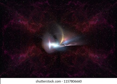 Abstrct Digital Artwork. Beautiful unknown galaxy in the depths of space against the background of stars and nebulae. Technologies of fractal graphics and rendering.