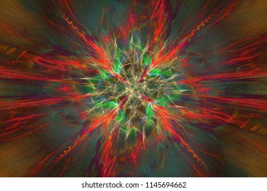 Abstrct Digital Artwork. The theme of the cosmos and the universe. Supernova explosion. Technologies of fractal graphics.