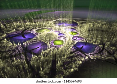 Abstrct Digital Artwork. The theme of the cosmos and the universe. Fantastic planet with lakes and fountains of plasma. Technologies of fractal graphics.