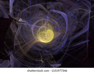 Abstrct Digital Artwork. The theme of the cosmos and the universe. The origin of life in interstellar space against the background of starry space. Technologies of fractal graphics.