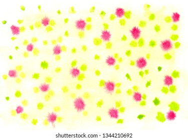 Abstrct watercolor spot with droplets, smudges, stains, splashes. Bright aquamarine yellow and reg color blot in grunge style. To design and decor backgrounds, banners, flyers.