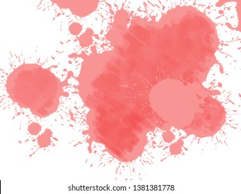 Abstrct watercolor spot with droplets, smudges, stains, splashes. Bright aquamarine blue color blot in grunge style. To design and decor backgrounds
