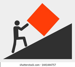 Absurd work raster pictograph. Illustration contains flat absurd work iconic symbol isolated on a white background.