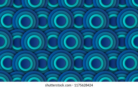 abtract blue circle background, illustration, paper art style