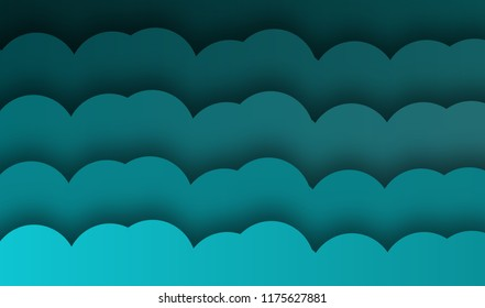 abtract blue wave background, illustration, paper art style