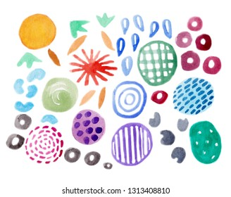 Abtract colorful watercolor element, circle, dot, dash, brush stroke on white background.