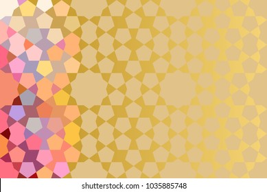 Abtract Golden Template with traditional Arabic Pattern as background.