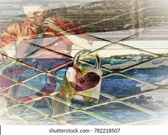 abtract Illustration texture, man playing cello and heart in padlock
