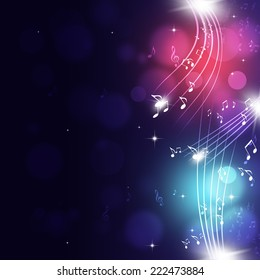 abtract music notes multicolor background for party events