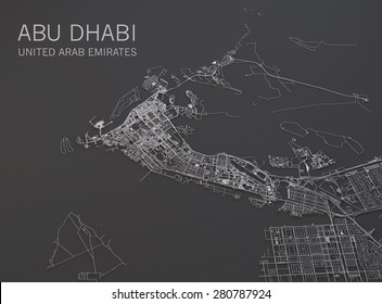 Abu Dhabi map, satellite view, map 3d