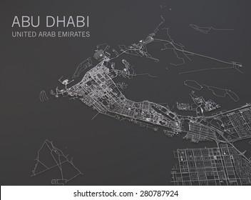 Abu Dhabi map, satellite view, map 3d