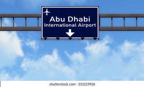 Abu Dhabi UAE Airport Highway Road Sign 3D Illustration