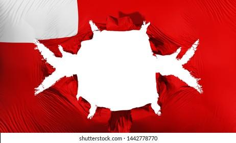 Abudhabi, capital of United Arab Emirates flag with a big hole, white background, 3d rendering