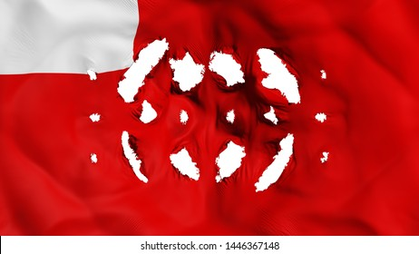 Abudhabi, capital of United Arab Emirates flag with a small holes, white background, 3d rendering