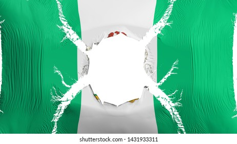 Abuja, capital of Nigeria flag with a hole, white background, 3d rendering