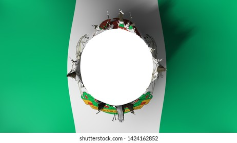Abuja, capital of Nigeria flag ripped apart, white background, 3d rendering