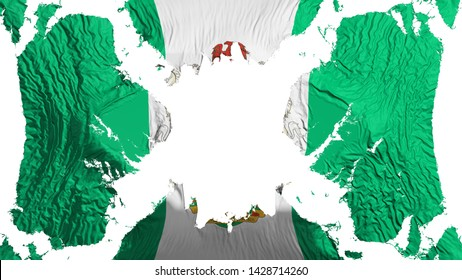Abuja, capital of Nigeria torn flag fluttering in the wind, over white background, 3d rendering