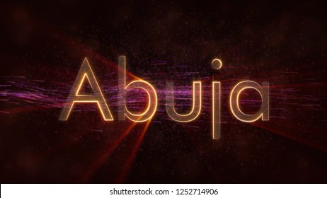 Abuja - Nigeria city name text animation - Shiny rays looping on edge of text over a background with swirling and flowing stars