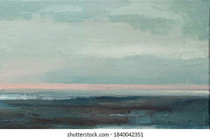 Abyss, ocean waves, seascape hand drawn oil illustration. Blue sea tides and ice blocks, frozen pond, winter marine scenery background. Storm, swash, strong current acrylic painting