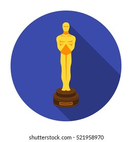 Academy award icon in flat style isolated on white background. Films and cinema symbol stock bitmap illustration.