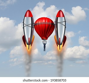 Accelerated growth rate business concept as a businessman flying up with a hot air balloon helped by two rocket boosters as a career success metaphor for rising opportunity  with new thinking.