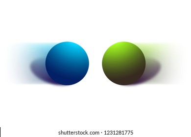 Accelerated two balls moving in opposite direction isolated on white background