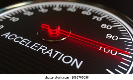 Acceleration meter or indicator, 3D rendering