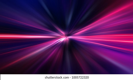 Acceleration speed motion on night road. Light and stripes moving fast over dark background. Abstract colorful Illustration.