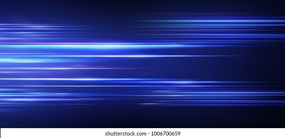 Acceleration speed motion on night road. Light and stripes moving fast over dark background. Abstract blue Illustration.