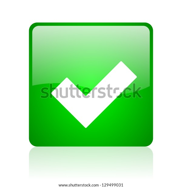 accept green square web icon on white background