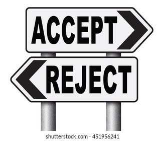 Accept reject approve decline refuse offer stock illustration accept reject approve or decline and refuse offer proposal or invitation yes or no 3d stopboris Images