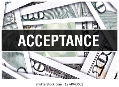 Acceptance Closeup Concept. American Dollars Cash Money,3D rendering. Acceptance at Dollar Banknote. Financial USA money banknote Commercial money investment profit concept