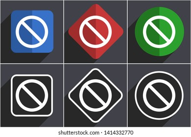 Access denied set of flat design web icons in 6 options