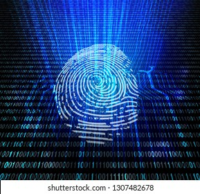 Access and security data analysis for human biometric identification. Digital fingerprint machine verification. 3d illustration