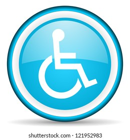 accessibility blue glossy icon on white background