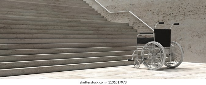 Accessibility for disabled. Wheelchair empty in front of concrete stairs, banner. 3d illustration