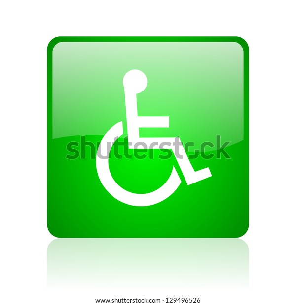accessibility green square web icon on white background