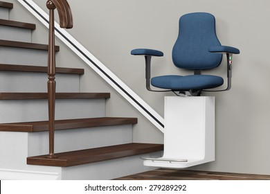 Accessible housing with stairlift on stairs in a house (3D Rendering)