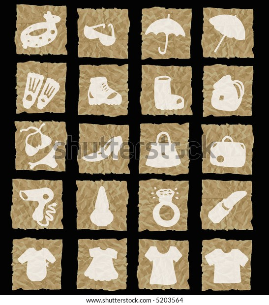 accessories icons on crumpled paper