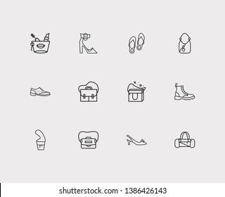 Accessory icons set. Flip-flops and accessory icons with satchel, freezer bag and crossbody bag. Set of apparel for web app logo UI design.
