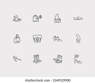 Accessory icons set. Gumboots and accessory icons with shoulder bag, crossbody bag and cowboy boots. Set of sale for web app logo UI design.