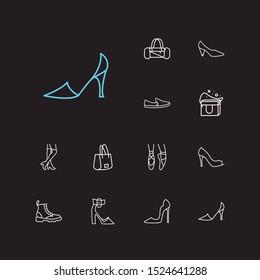 Accessory icons set. Knee high boots and accessory icons with dr martens, freezer bag and shopper bag. Set of refrigerator for web app logo UI design.