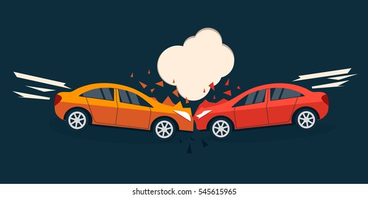 Accident road situation. Car accident comic style illustration.  Car accident flat design. Car crash banner.