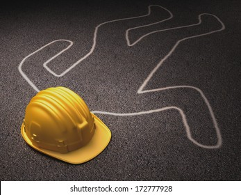 Accident at work. A helmet over the dead body outline.