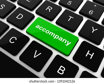 accompany on computer keyboard key enter button, 3D rendering illustration