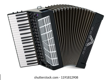 Accordion. 3D rendering isolated on white background