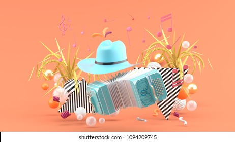 Accordion and a cowboy hat among the notes and colorful balls on the pink background.-3d render.