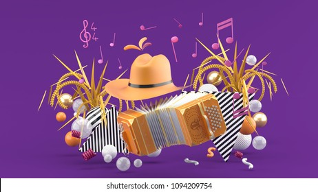 Accordion and a cowboy hat among the notes and colorful balls on the purple background.-3d render.