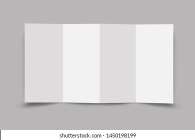 Accordion fold brochure, eight pages four panel leaflet, concertina fold. blank white 3d render illustration. - Illustration